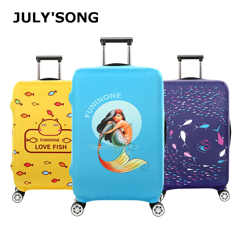 Fish Design 18-32'' Cover For Suitcase Bags Travel Luggage Accessories For Men's Women Waterproof Protection Suitcase Case Cover