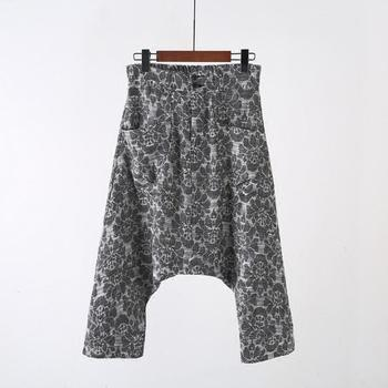 New summer style men's clothing Loose harem pants tide grey Printing casual hip hop cropped trousers Men sportswear pants
