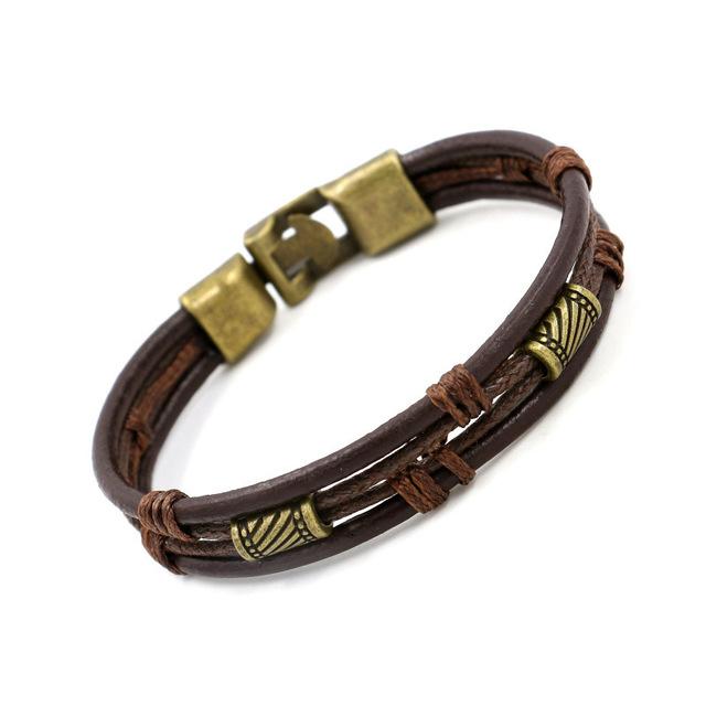 Genuine Leather Bracelet Vintage Beads Bracelet Handmade