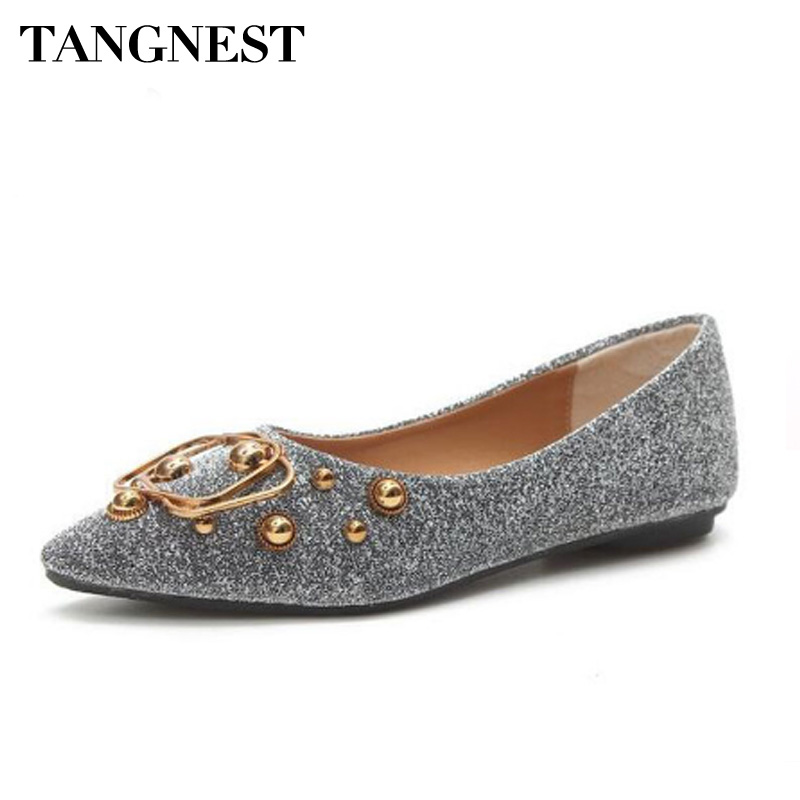 Tangnest Sexy Pointed Toe Women's Flats PU Leather Fashion Metal Decoration Shallow Ballet Flats Bling Flat Shoes Size 35 ~40 bailehou fashion women flats shoes slip on loafers bow pointed toe flat ballet shoes soft moccasins metal buckle shallow shoes