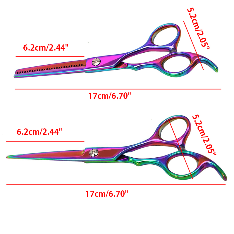 6in Profession Hair Trimmer Stainless Steel Cool Colorful Cutting/Thinning Hairdressing Scissors Salon Shears