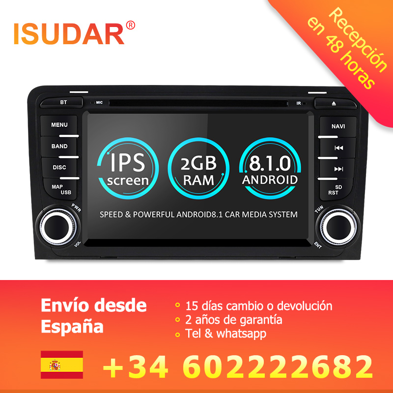 8.1.0 Isudar 2 Din Car Multimedia Player GPS Android DVD Automotivo Para Audi A3 8 P/A3 8P1 3 -porta Hatchback/S3 8 P/RS3 Sportback