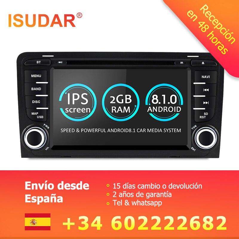Isudar 2 Din Auto Multimedia Player GPS Android 8.1.0 DVD Automotivo Für Audi A3 8 P/A3 8P1 3- tür Hatchback/S3 8 P/RS3 Sportback