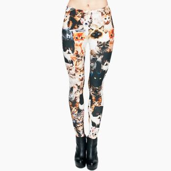 Модные женские леггинсы в стиле панк с изображением животных, кошек, полноразмерная 3D-печать, облегающие брюки, повседневные штаны, леггинс... >> Zohra Official Store