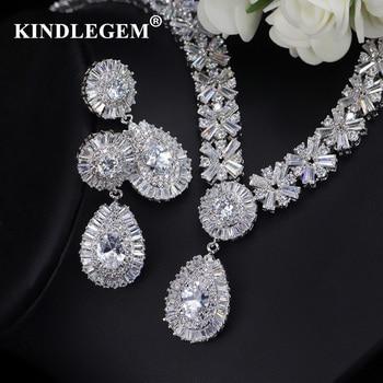 06592c2c3334 Kindlegem 2019 de circón de lujo Parure Bijoux Femme Dubai pendientes de  plata conjuntos de collar de moda de India africana de la joyería para las  mujeres