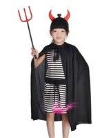 Crianças stage performing vestuário crianças Diabo do dia das bruxas, partido pirata, zorro traje cosplay chapéu + capa + armas set