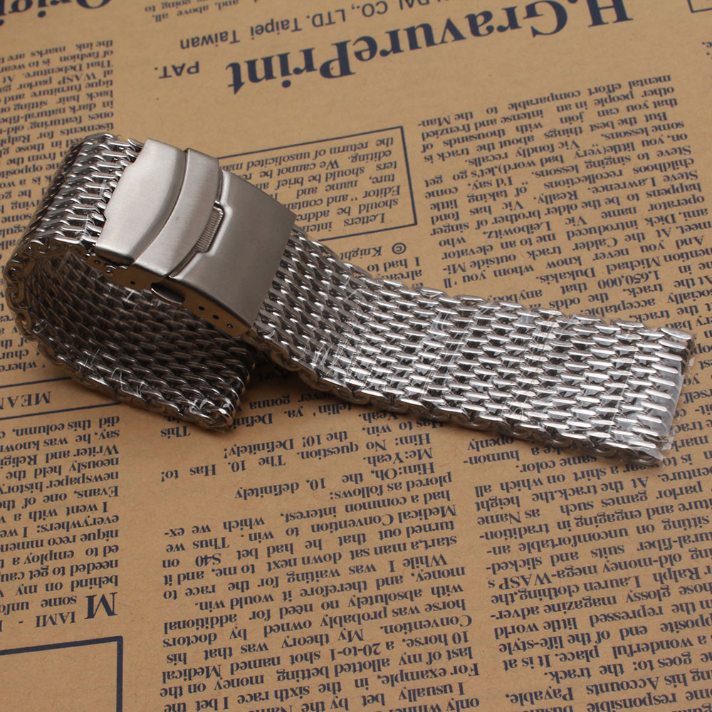 Loose stainless steel Silver Shark Mesh Watchband Bracelets Special End safety Buckle 18mm 20mm 22mm 24mm promotion men's straps loose stainless steel silver shark mesh watchband bracelets special end safety buckle 18mm 20mm 22mm 24mm promotion men s straps