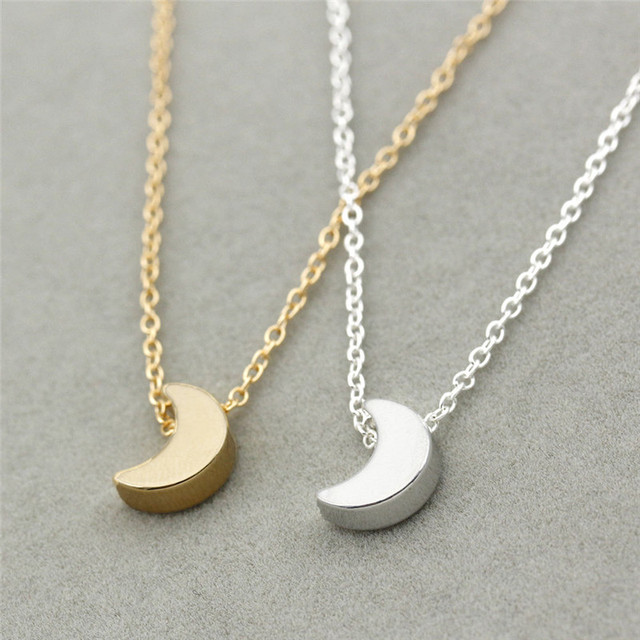 Crescent Moon Silver Gold  Necklace