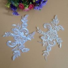 10Pieces Off White Bleaching Embroidery Lace Applique French Net Sewing Crafts Women Child Cloth Scrapbooking DIY