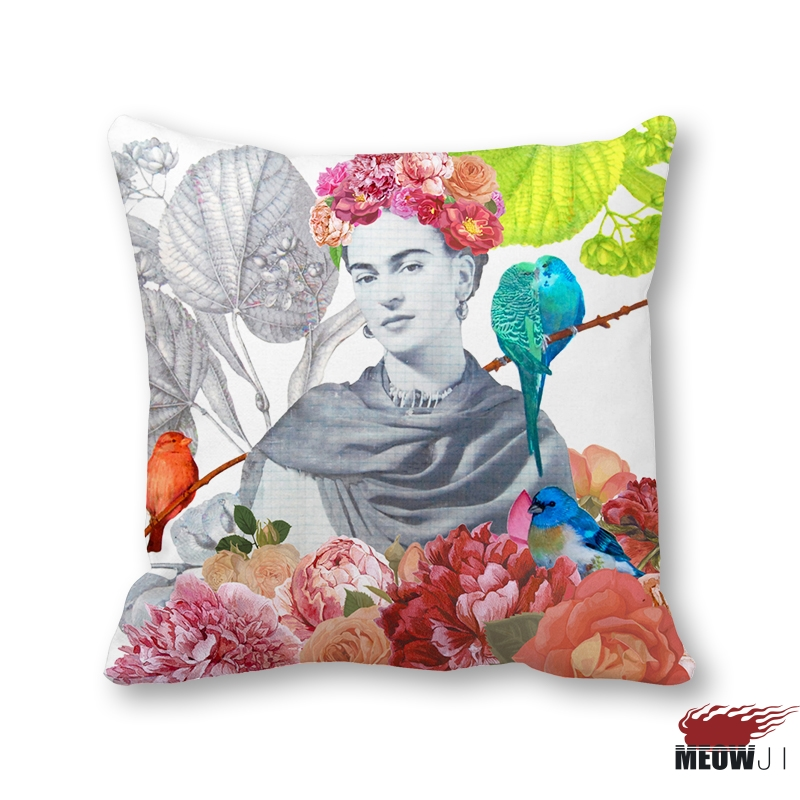 [MIAOJI] Cushion Cover Frida Kahlo Artist Self-portrait Flowers Throw Pillow Case Sofa Bedroom Home Decorative Free Shipping