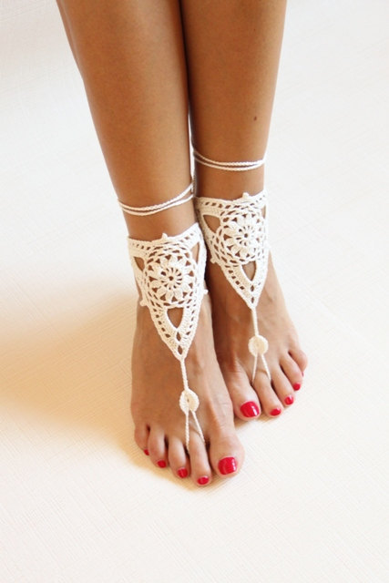Beach wedding ivory crochet wedding barefoot SandalsNude shoes