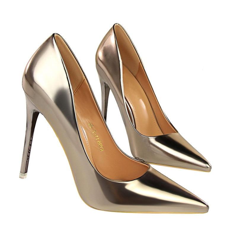 Partie En Talons Chaussures 2 Peu Profonde Cuir Sur Pompes Slip Pointu 3 B015 Mode Automne Bout 5 1 Femmes Hauts 4 Pu dcOpYqwUO