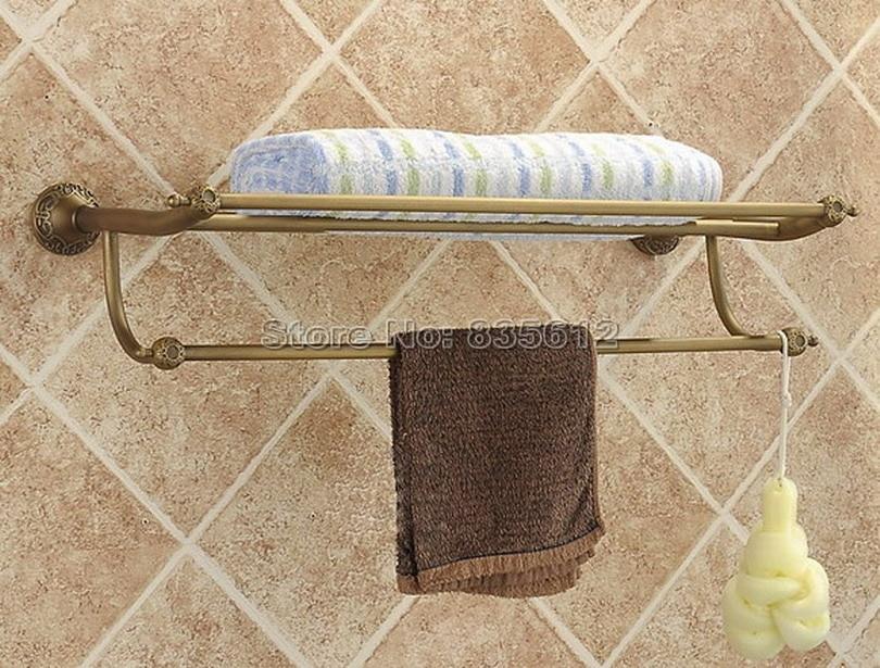 Antique Brass Wall Mounted Bathroom Towel Rack Holders Wba035 antique brass bathroom wall mounted double towel bar holders cba093