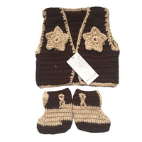 New Baby Clothing Western Cowboy Boots Vest Costume Outfit Newborn Photography Prop Knitted Cowboys Set Bebes