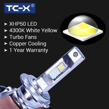 TC-X светодиодные лампы для авто 4300К желтого света LED H4 H7 HB3 9005 HB4 9006 12 В гарантия 1 год с вентилятором и медными пластинами