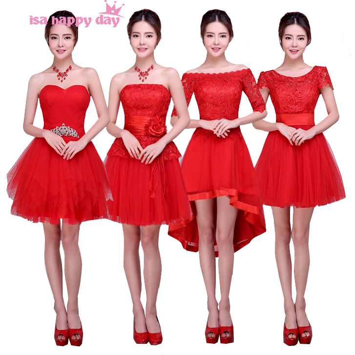 Woman Red Knee Length Short Custom Size New Arrival Plus Size Bridesmaid Girls Bridemaid Tulle Dress Patterns 2019 W3621
