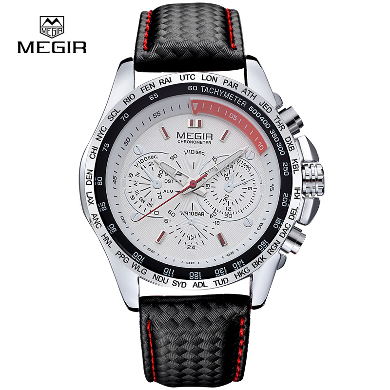 Prix pour MEGIR hommes quartz-montre de bande de cuir noir montre Étanche hommes de mode mens watch top marque relogio masculino esportivo