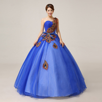 100%real royal blue/red peacock ball gown Medieval dress Renaissance gown princess cosplay Victorian Belle Ball