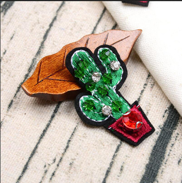 5 Pcs Rhinestone Cactus Applique Patches for Clothing