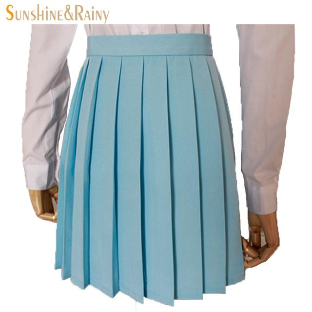 Японский 2017 новый бренд девушки юбки плиссированные школьниц юбка униформа потому macarons талия твердые плиссированные юбки многоцветный женский