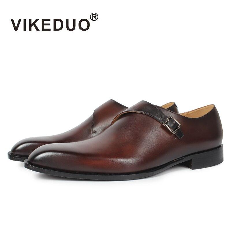 2019 Habillées Véritable Designer Cru Moine Mode Vikeduo Mâle Luxe Décontracté De Noce Marque En Mens Main Cuir Brown Chaussures TluF1cJ3K