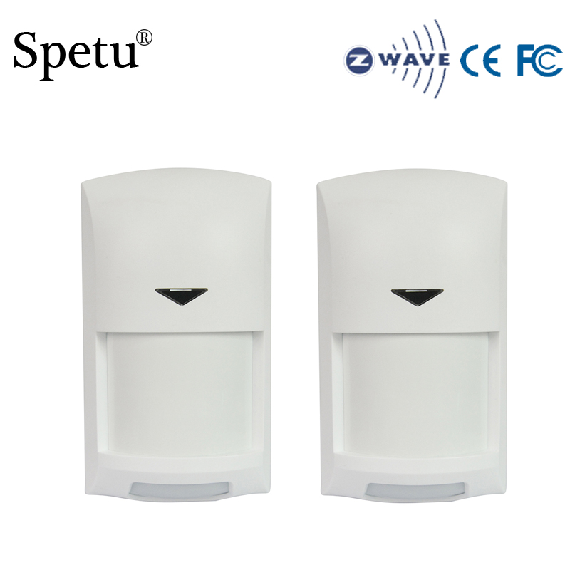 Spetu 2PCS/lot Z-wave Wireless Infrared Detector Z Wave Sensor Smart Alarm Home Automation Alarm Battery-Powered EU 868.4MHZ