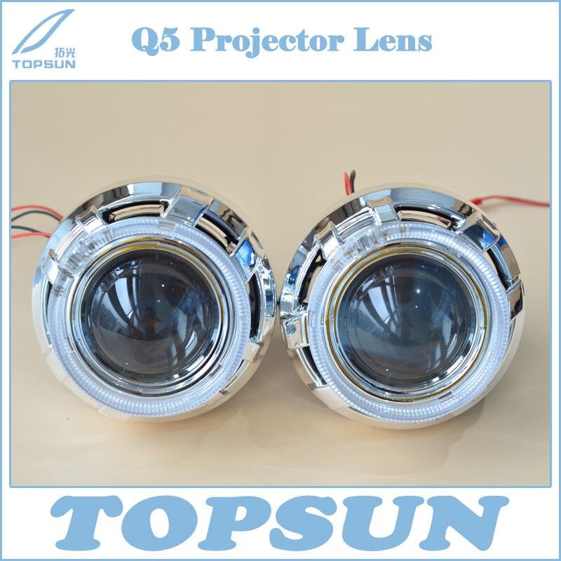 купить Free Shipping HID 3.0 inch Bifocal Q5 Projector Lens Using D2R D2S D2H Xenon Bulb, with Optic Light Guide Angel Eyes and Shroud недорого