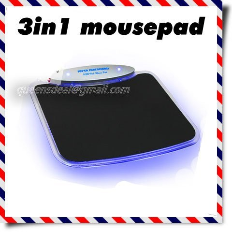 Free Shipping Multifunctional Computer Notebook 4 Ports USB Hub High Speed Blue LED Light  3 in 1 Mouse Pad Mousepad