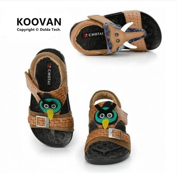 2016 Quentes de Verão Meninos Sapatos Sandálias Sandália de Praia Fundo Macio das Crianças Dos Miúdos Dos Pássaros Sapatos Sandália De Couro Frete grátis KL2558