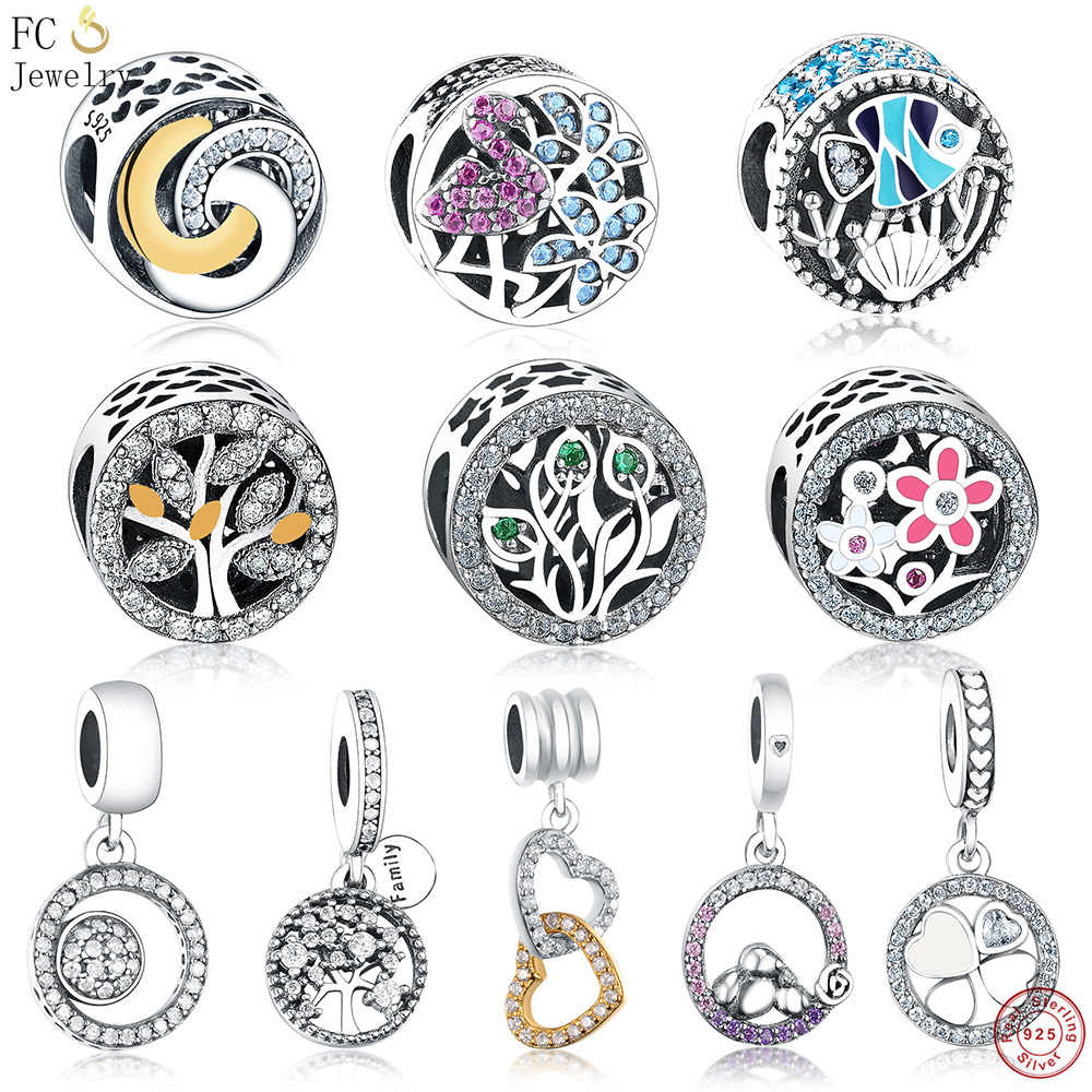 FC Jewelry Fit Original Pandora Charms Bracelet 925 Silver Interlinked Gold Color Circles Mix Cubic Zirconia Beads Berloque DIY