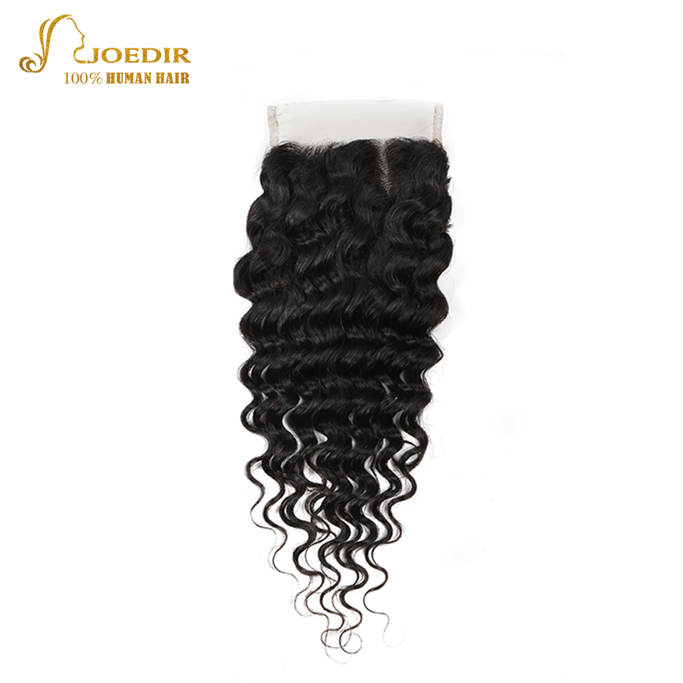 Joedir Brazilian 100% Human Hair Closure Deep Wave 4X4 lace Closure With Baby Hair Free Part Remy Hair Natural Color Free Ship