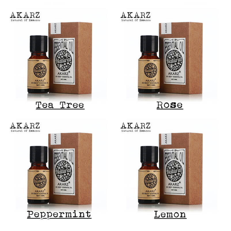AKARZ Famous brand Pure tea tree rose peppermint lemon essential oil Pack For Aromatherapy, Massage,Spa, Bath 10ml*4
