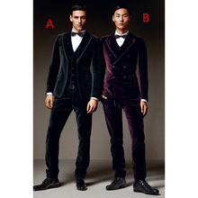 2017 Latest Coat Pant Design Black/Purple Velvet Men Suit Slim Fit 3 Piece Tuxedo Custom Groom Blazer mens Suits terno Masculino