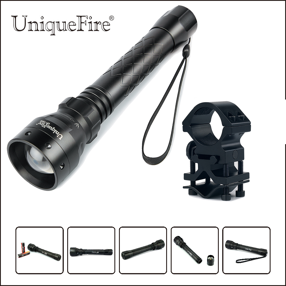 Uniquefire Portable Led Flashlight UF-1502 XM-L2 T6 LED 1200 Lumen 5 Modes Black Aluminum Alloy Lamp Torch+Scope Mount For Hunt uniquefire uf 1404 4 cree xp l led high power flashlight 3 modes 4000 lumen 4 xp l led torch for camping hiking