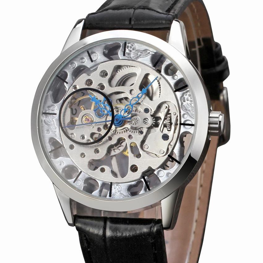 Ver a través de tono de plata hueco esqueleto Steampunk viento mecánico reloj de pulsera para hombre A448