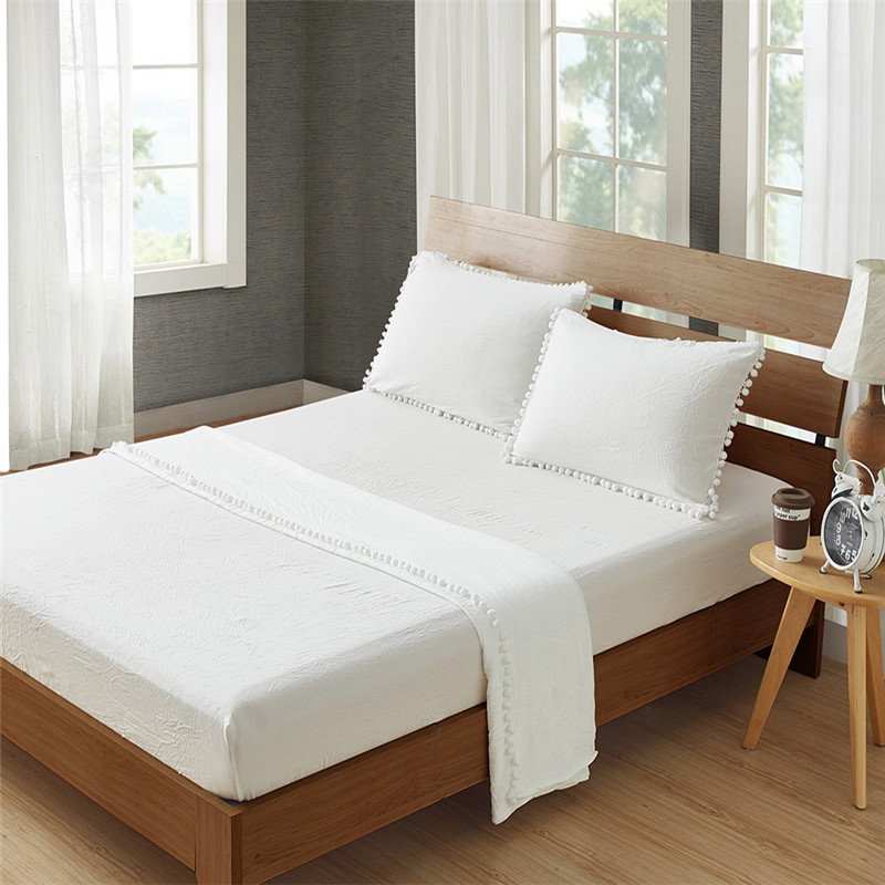 Fashionable Pure White Sanding Water Ball Ball <font><b>Bed</b></font> Linen Home Textiles 3/4Pcs <font><b>Bed</b></font> Sheet Pillowcase Bedding Set Sheet Fitted Sets