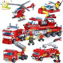 348 шт. пожаротушения 4in1 грузовики автомобиля Вертолет Лодка строительные блоки Совместимые legoing город пожарный цифры Детские игрушки