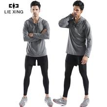 LIEXING 1 Set Men Running Sportswear Gym Fitness Sweatpants Workout Training Hoodies Sweatshirt Male Jogging Sports Clothing