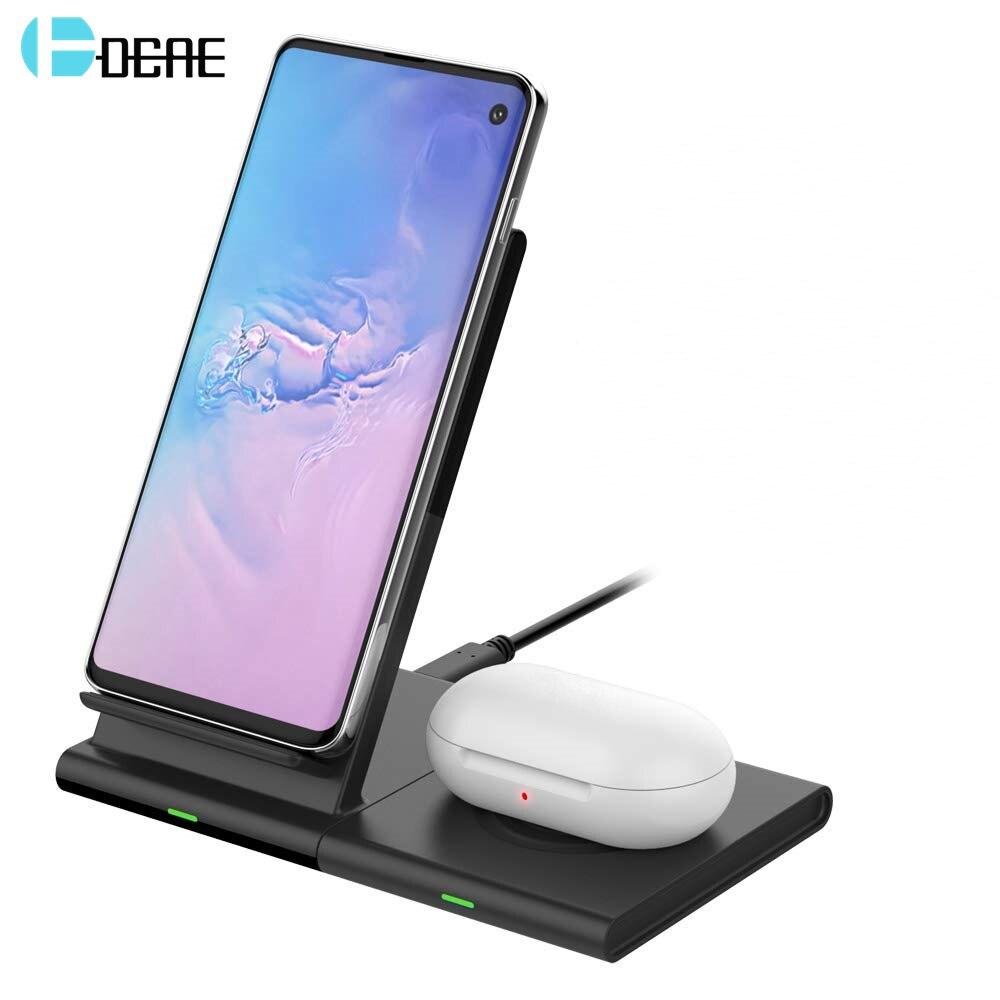 DCAE 2 em 1 10 W Qi Carregador Sem Fio Estação De Carregamento Doca para Samsung S10 S9 Relógio Galáxia Botões Engrenagem para o iphone XS XR X 8 Airpods