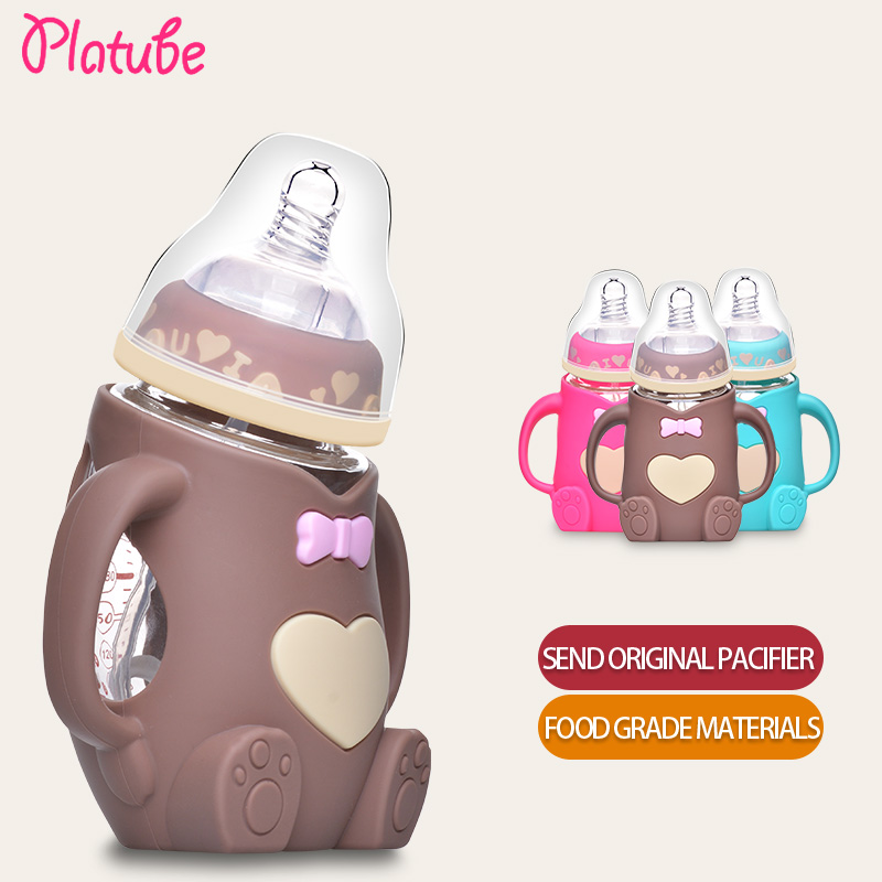 240ml Baby Silicone Milk Feeding Bottle Mamadeira Vidro BPA Free Safe Infant Juice Water Feeding Bottle cup Glass Nursing Feeder 240ml baby drinking water bottle cups with straw portable feeding bottle cartoon water feeding cup with the handle for baby hot