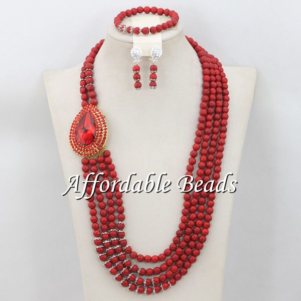 New Arrival African Beaded Jewelry Nice Costume African Jewelry Sets Free Shipping ABW082