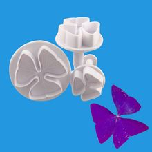 3Pcs Plastic Clover Petal Flower Cookie Plunger Cutter Fondant Cake Decorating Tools Sugarcraft Baking Cookies Mold 47pcs flower sugarcraft cake mold fondant plunger rose leaf daisy cutter polymer clay mould diy baking tools kitchen accessories