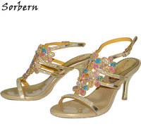 Sorbern 7 5CM Crystal Women Sandals Colorful Rhinestone Bridal Shoes Buckle Strap Thin Heels Sandalias Mujer