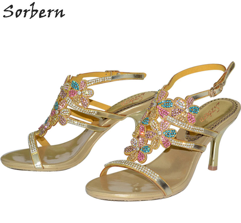Sorbern 7.5CM Crystal Women Sandals Colorful Rhinestone Bridal Shoes Buckle Strap Thin Heels Sandalias Mujer 2018 New Hot S sorbern women sandals shoes real image pvc clear heels buckle strap 15cm heels crystal sandalias mujer 2018 summer shoes women