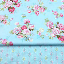 100% cotton twill cloth elegant BLUE FLOWERS floral fabric for DIY crib bedding apparel girl dress quilting handwork decor tela(China)