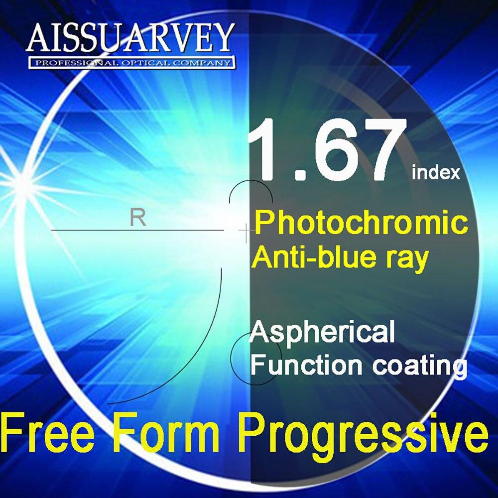 1.67 Index Livraison Forme Progressive Lentilles Anti-bleu Ray Photochromiques Multifocale Asphérique Bifocale Lecture Top Qualité Clair Gris