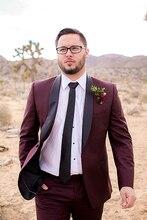 2017 Latest Coat Pant Designs Burgundy Shawl Lapel Wedding Suit for Men Formal Suits Groomsmen Custom Tuxedo 2 Pieces Masculino