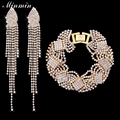 Minmin Gold Plated Jewelry Sets Bracelet Earrings with Crystal Fashion Accessory African Beads Jewelry Set for Women EH360+SL076