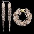 Minmin banhado a ouro conjuntos de jóias brincos pulseira com cristal acessórios de moda beads africanos conjunto de jóias para as mulheres eh360 + sl076