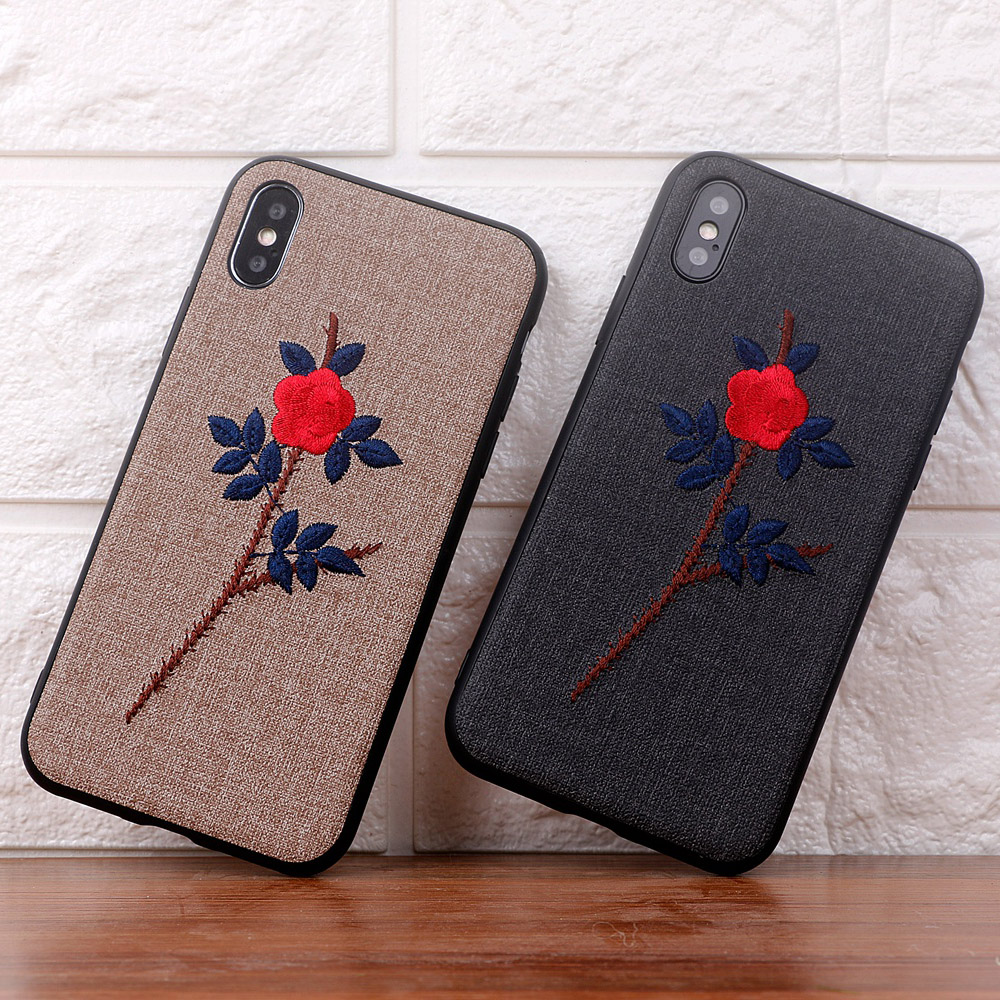 Bordado Artesanal de luxo 3D Azul Subiu caso de flor para o iphone 8 menina caixa do telefone para o iphone x 6 6 s 8 7 mais cobertura para iphoneX